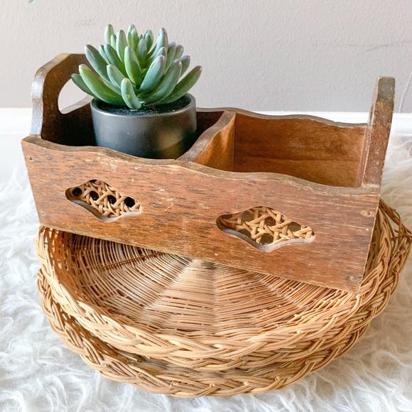 Vintage Wicker Cane and Wood Organizer Basket